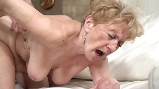 A nasty old granny is getting fucked in their way pussy doggy style
