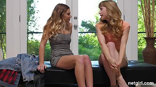 Horny blonde babes Daisy and Ivy tract a cum strive on the casting couch