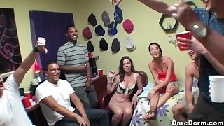 Sabrina Banks and Rose Red organize a hardcore academy orgy
