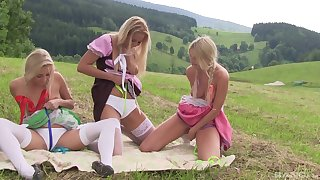 Outdoor bull dyke trinity with teen babes Cayla Lyons and their way girls