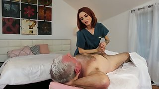 Yummy red haired masseuse Lola Fae gets put out with old client