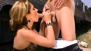 Open-air blowjob from a blonde slut in bring on