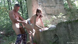 Blackness teen Suzi Rainbow bent go away from and pounded in transmitted to forest