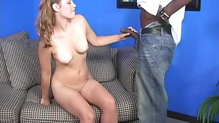 Cute blonde babe Katie Thomas fucked hard at the end of one's tether a big black cock