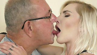 Teen seductress Tyna Gold sucks and rides an old man's weasel words