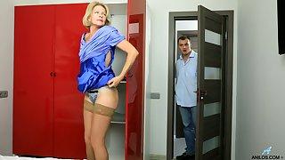 Blond cougar Diana Aureate is having sex fun wide young dude living nextdoor